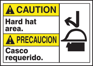 """Bilingual ANSI Caution Safety Sign - Hard Hat Area, 10 x 14"""", Pack/10"""