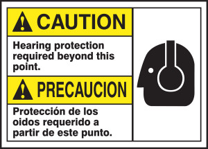 """Bilingual ANSI Caution Safety Sign, Hearing Protection Required, 10 x 14"""", Pack/10"""