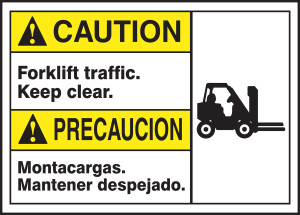 """Bilingual ANSI ISO Caution Safety Sign, Forklift Traffic, Keep Clear, 10 x 14"""", Pack/10"""