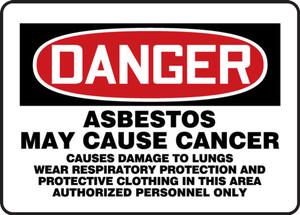 "OSHA DANGER Sign: Asbestos May Cause Cancer, 10 x 14"", Pack/10"