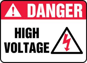 """ANSI Safety Sign - DANGER: High Voltage, 10 x 14"""", Pack/10"""