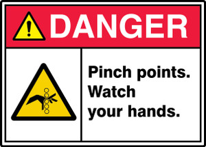 """ANSI ISO Safety Sign - DANGER: Pinch Points, 10 x 14"""", Pack/10"""