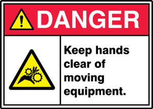 """ANSI ISO Safety Sign - DANGER: Keep Hands Clear, 10 x 14"""", Pack/10"""