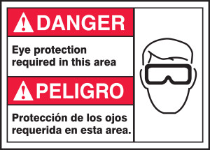 """BILINGUAL ANSI Sign - EYE PROTECTION, 10 x 14"""", Pack/10"""