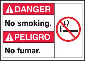 """Bilingual ANSI Danger Safety Sign - No Smoking, 10 x 14"""", Pack/10"""