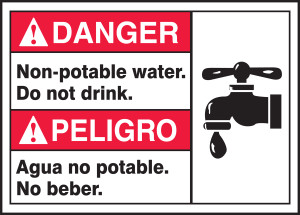 """Bilingual ANSI Danger Safety Sign, Non-Potable Water, Do Not Drink, 10 x 14"""", Pack/10"""