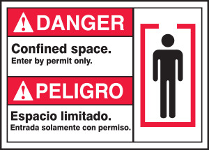 """BILINGUAL ANSI Sign - CONFINED SPACE, 10 x 14"""", Pack/10"""