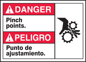 """Bilingual ANSI Danger Safety Sign - Pinch Points, 10 x 14"""", Pack/10"""