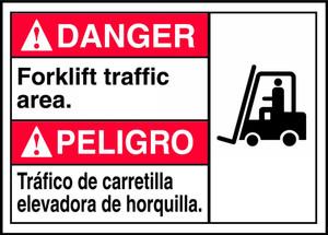 """Bilingual ANSI Safety Sign, DANGER: Forklift Traffic, 10 x 14"""", Pack/10"""
