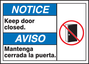 "BILINGUAL ANSI Sign - DOOR, 10 x 14"", Pack/10"