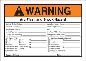 """ANSI Warning Sign: Arc Flash And Shock Hazard, 10 x 14"""", Pack/10"""