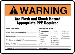 "Arc Flash Warning And Shock Hazard Sign, 10 x 14"", Pack/10"
