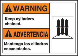"""BILINGUAL ANSI Sign - CYLINDERS, 10 x 14"""", Pack/10"""