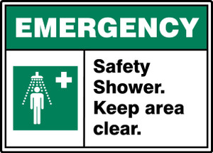"""ANSI ISO Emergency Sign, Safety Shower, Keep Clear, 10 x 14"""", Pack/10"""