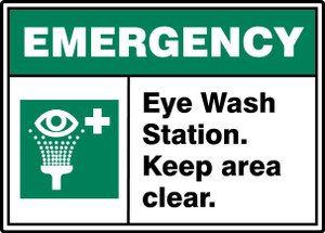 """ANSI ISO Emergency Sign, Eye Wash Station, Keep Clear, 10 x 14"""", Pack/10"""