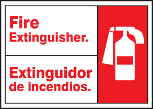 """Bilingual ANSI Safety Sign - Fire Extinguisher, 10 x 14"""", Pack/10"""