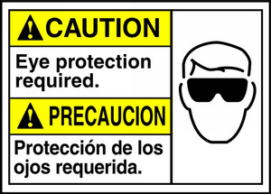 """Bilingual ANSI CAUTION Sign, Eye Protection Required, 10 x 14"""", Pack/10"""
