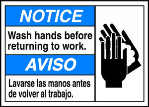 """Bilingual ANSI Notice Safety Sign, Wash Hands Before Returning to Work, 10 x 14"""", Pack/10"""