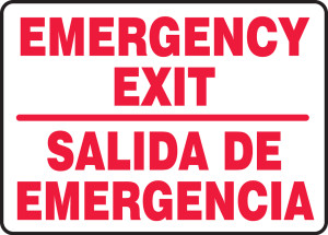 """Bilingual Safety Sign - Emergency Exit, 10 x 14"""", Pack/10"""