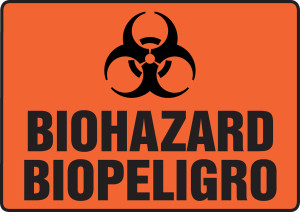 "Bilingual Safety Sign - Biohazard, 10 x 14"", Pack/10"
