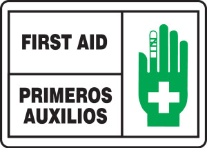 """Bilingual ANSI ISO Safety Sign, First Aid, 10 x 14"""", Pack/10"""