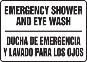 "Bilingual Safety Sign, Emergency Shower And Eyewash, 10 x 14"", Pack/10"