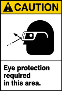 """ANSI Safety Sign, CAUTION: Eye Protection Required, 14 x 10"""", Pack/10"""