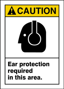"""ANSI Safety Sign, CAUTION: Ear Protection Required, 14 x 10"""", Pack/10"""