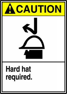 """ANSI Safety Sign - CAUTION: Hard Hat Required, 14 x 10"""", Pack/10"""