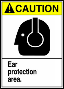 """ANSI Safety Sign - CAUTION: Ear Protection Area, 14 x 10"""", Pack/10"""