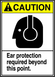 """ANSI Safety Sign - CAUTION: Ear Protection Required, 14 x 10"""", Pack/10"""