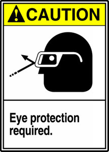 """ANSI Safety Sign - CAUTION: Eye Protection Required, 14 x 10"""", Pack/10"""