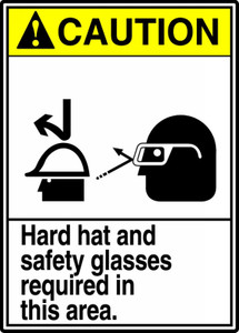 """ANSI Safety Sign, CAUTION: Hard Hat And Safety Glasses Required, 14 x 10"""", Pack/10"""