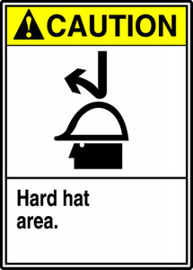 """ANSI Safety Sign - CAUTION: Hard Hat Area, 14 x 10"""", Pack/10"""
