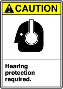 """ANSI Safety Sign, CAUTION: Hearing Protection Required, 14 x 10"""", Pack/10"""
