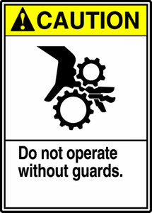 "ANSI Safety Sign, CAUTION: Do Not Operate w/o Guards, 14 x 10"", Pack/10"