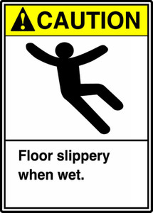 "ANSI Safety Sign - CAUTION: Floor Slippery When Wet, 14 x 10"", Pack/10"