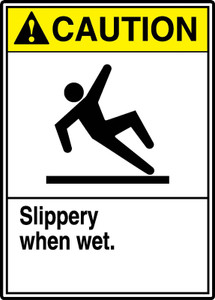 "ANSI Safety Sign, CAUTION: Slippery When Wet, Watch Your Step, 14 x 10"", Pack/10"