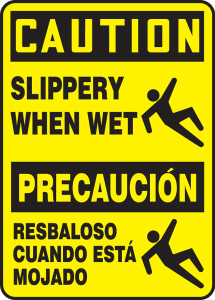 "Bilingual OSHA CAUTION Sign - Slippery When Wet, 14 x 10"", Pack/10"