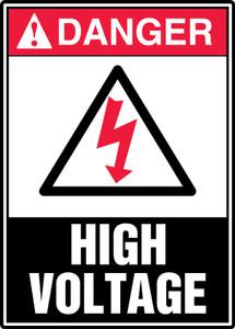 """ANSI Safety Sign - DANGER: High Voltage, 14 x 10"""", Pack/10"""