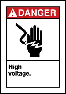"""ANSI Safety Sign - DANGER: High Voltage., 14 x 10"""", Pack/10"""