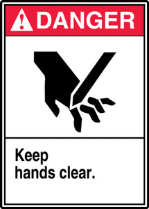 "ANSI Danger Safety Sign - Keep Hands Clear, 14 x 10"", Pack/10"