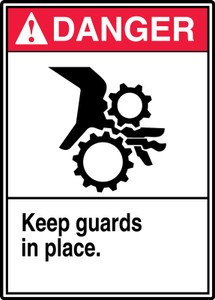 "ANSI Safety Sign - DANGER: Keep Guards In Place, 14 x 10"", Pack/10"