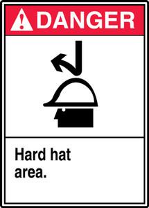 """ANSI Safety Sign - DANGER: Hard Hat Area, 14 x 10"""", Pack/10"""