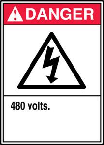 """ANSI Safety Sign - DANGER: 480 Volts, 14 x 10"""", Pack/10"""