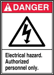 """ANSI Safety Sign, DANGER: Electrical Hazard, Auth Only, 14 x 10"""", Pack/10"""