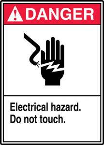 """ANSI Safety Sign, DANGER: Electrical Hazard, Do Not Touch, 14 x 10"""", Pack/10"""