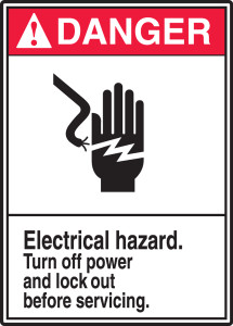 """ANSI Safety Sign, DANGER: Electrical Hazard, Turn Off Power And Lock Out Before Servicing, 14 x 10"""", Pack/10"""