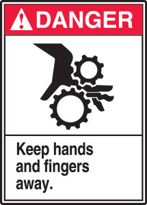 "ANSI Danger Safety Sign, Keep Hands And Fingers Away, 14 x 10"", Pack/10"
