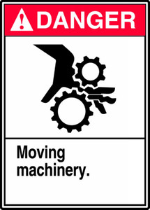 "ANSI Safety Sign - DANGER: Moving Machinery, 14 x 10"", Pack/10"